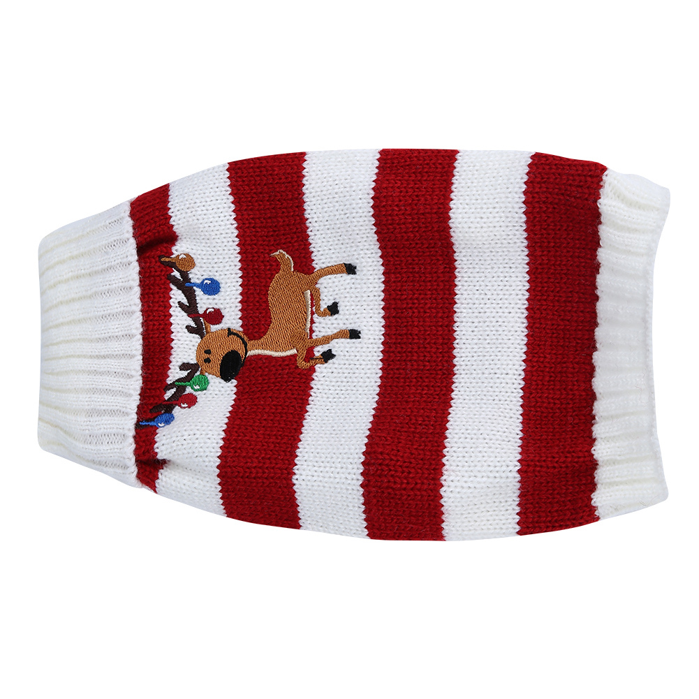 Christmas-Reindeer-Pet-Puppy-Cat-Dog-Sweater-Striped-Knit-Crocheted-Knitwear thumbnail 14