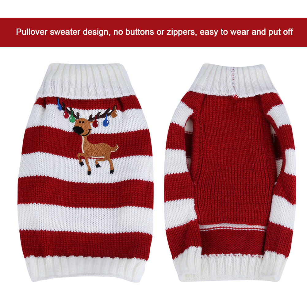 Christmas-Reindeer-Pet-Puppy-Cat-Dog-Sweater-Striped-Knit-Crocheted-Knitwear thumbnail 15