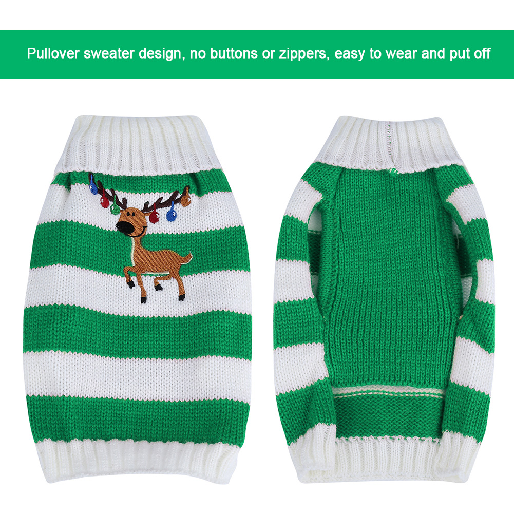 Christmas-Reindeer-Pet-Puppy-Cat-Dog-Sweater-Striped-Knit-Crocheted-Knitwear thumbnail 18