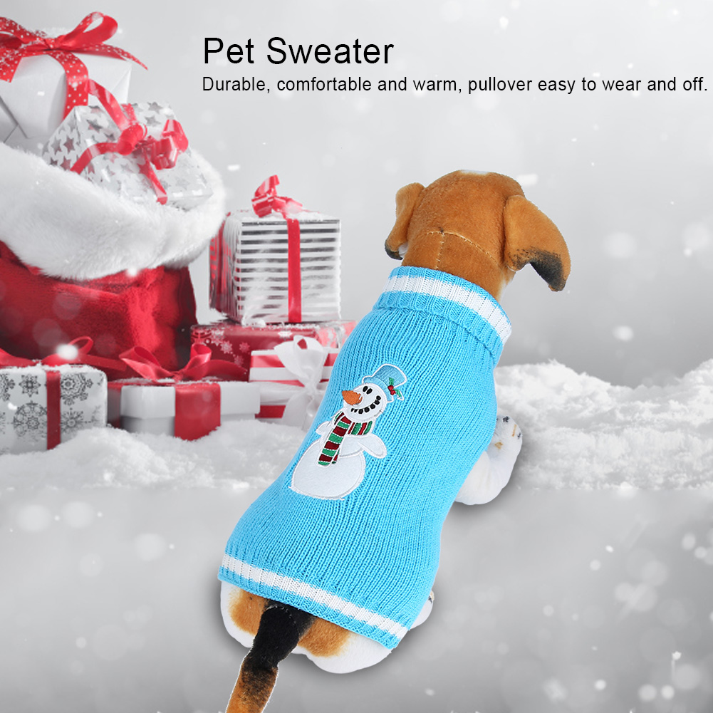 Christmas-Reindeer-Pet-Puppy-Cat-Dog-Sweater-Striped-Knit-Crocheted-Knitwear thumbnail 26