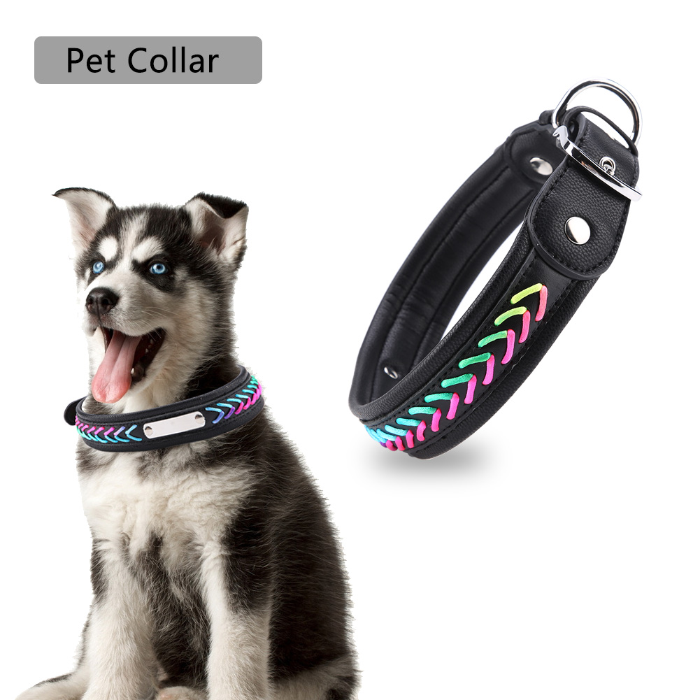 Colorful-Leather-Personalized-Engraved-Dog-Collar-Puppy-Cat-Pet-Collars-ID-Tag thumbnail 182
