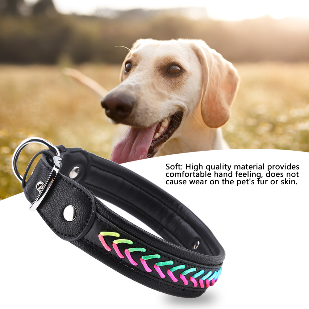 Colorful-Leather-Personalized-Engraved-Dog-Collar-Puppy-Cat-Pet-Collars-ID-Tag thumbnail 183