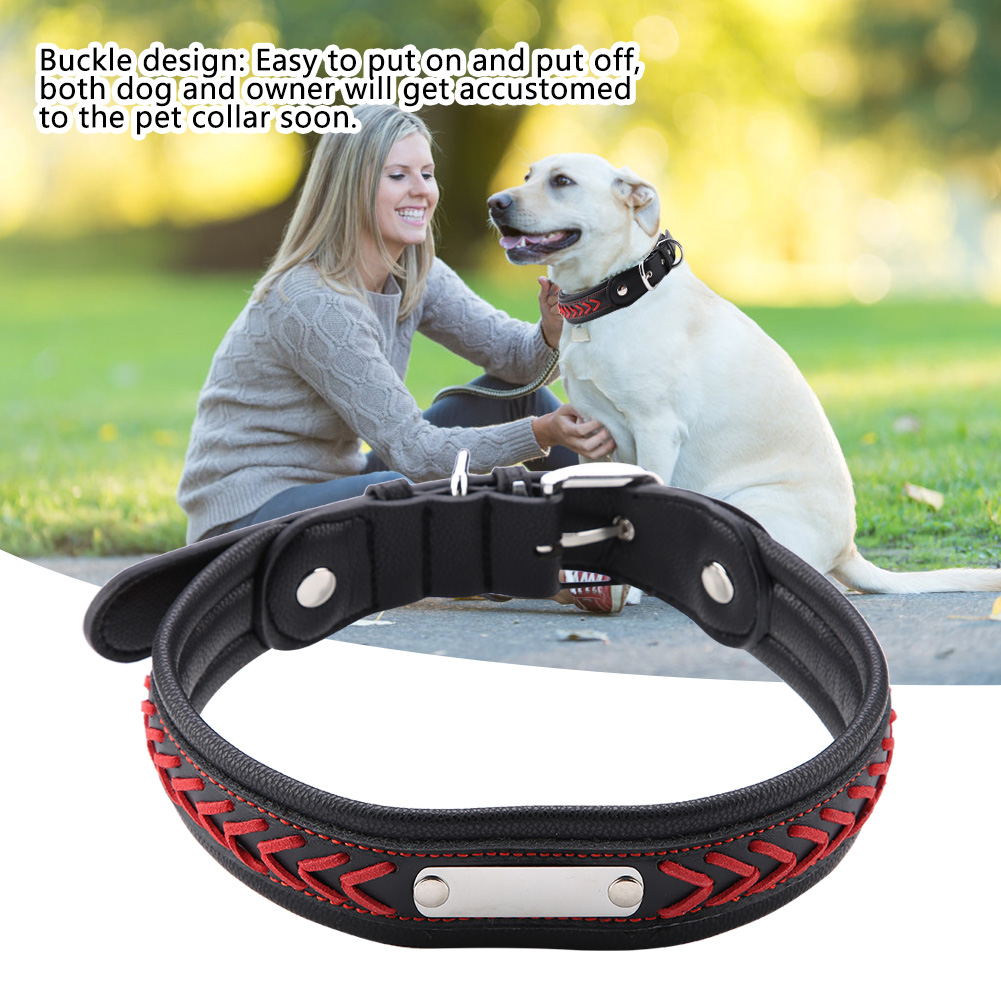 Colorful-Leather-Personalized-Engraved-Dog-Collar-Puppy-Cat-Pet-Collars-ID-Tag thumbnail 198