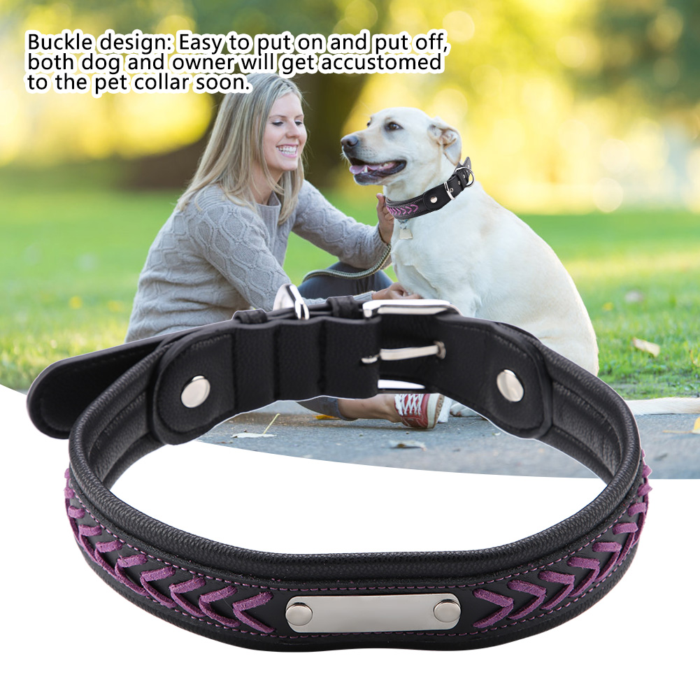 Colorful-Leather-Personalized-Engraved-Dog-Collar-Puppy-Cat-Pet-Collars-ID-Tag thumbnail 201