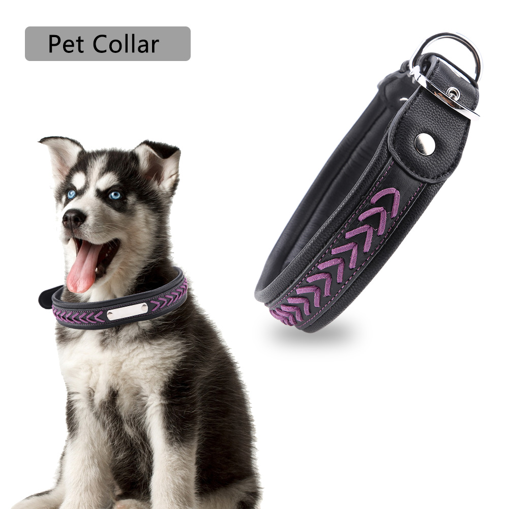 Colorful-Leather-Personalized-Engraved-Dog-Collar-Puppy-Cat-Pet-Collars-ID-Tag thumbnail 203
