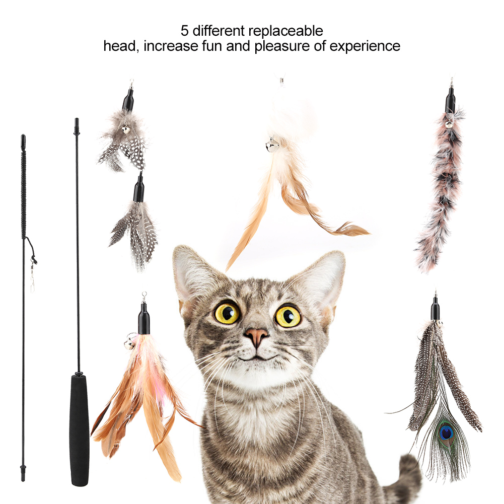 Feather-Activity-Toy-Funny-Cat-Kitten-Pet-Teaser-Teaser-Wire-Chaser-Wand-Toys miniature 17