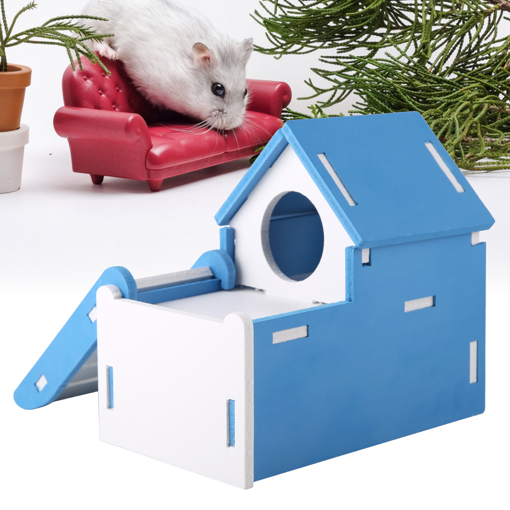 Hamster-Rat-Natural-Wooden-Slide-Toys-House-Cage-Exercise-Fun-Non-Toxic-Washable thumbnail 14