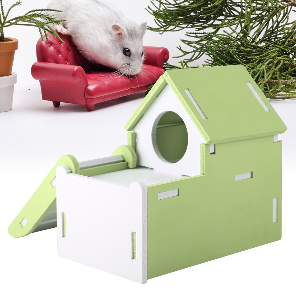 Hamster-Rat-Natural-Wooden-Slide-Toys-House-Cage-Exercise-Fun-Non-Toxic-Washable thumbnail 20