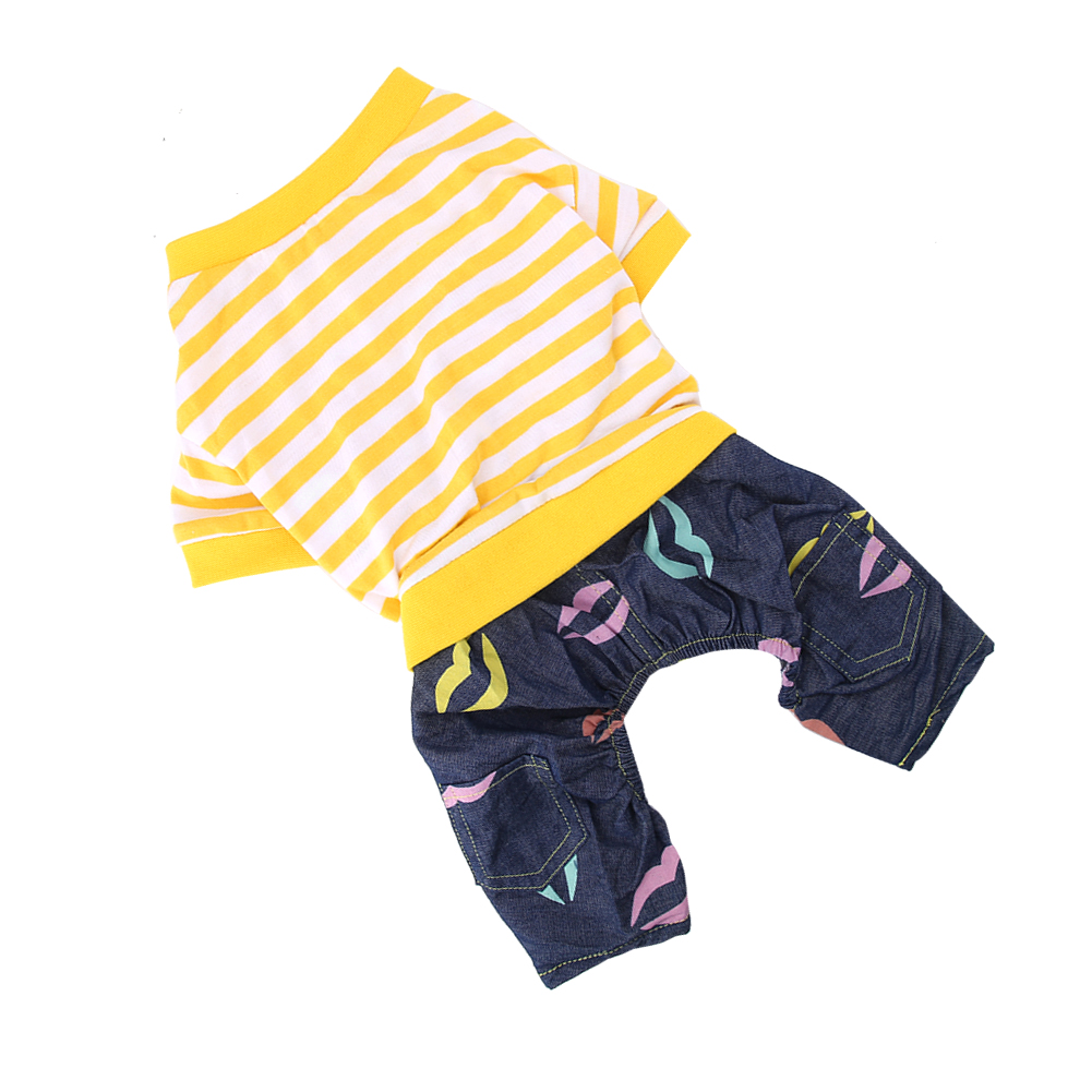 Cute-Small-Dog-Summer-Cotton-Clothes-Puppy-Striped-Jumpsuit-Pet-Cat-Coat-Costume thumbnail 14