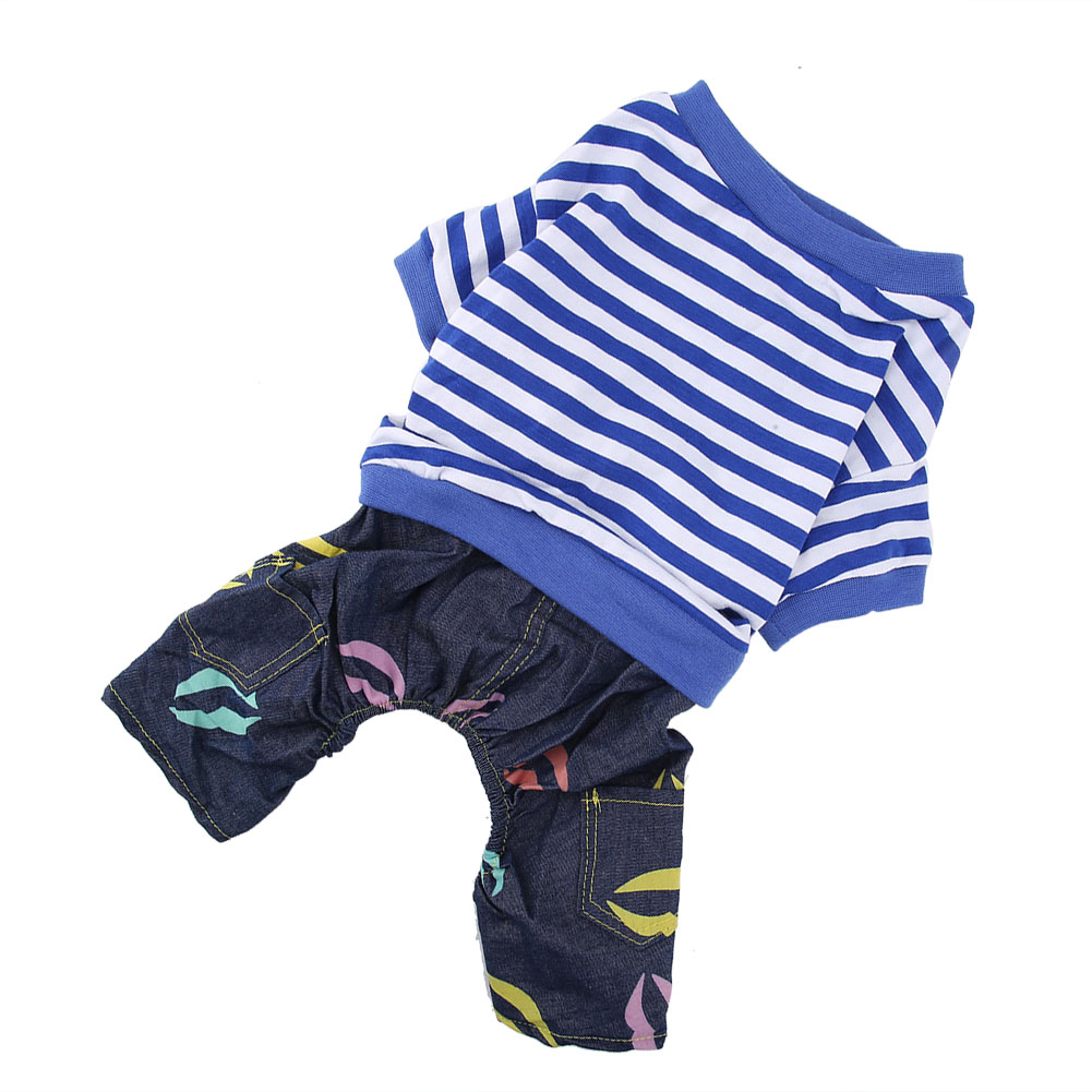 Cute-Small-Dog-Summer-Cotton-Clothes-Puppy-Striped-Jumpsuit-Pet-Cat-Coat-Costume thumbnail 25