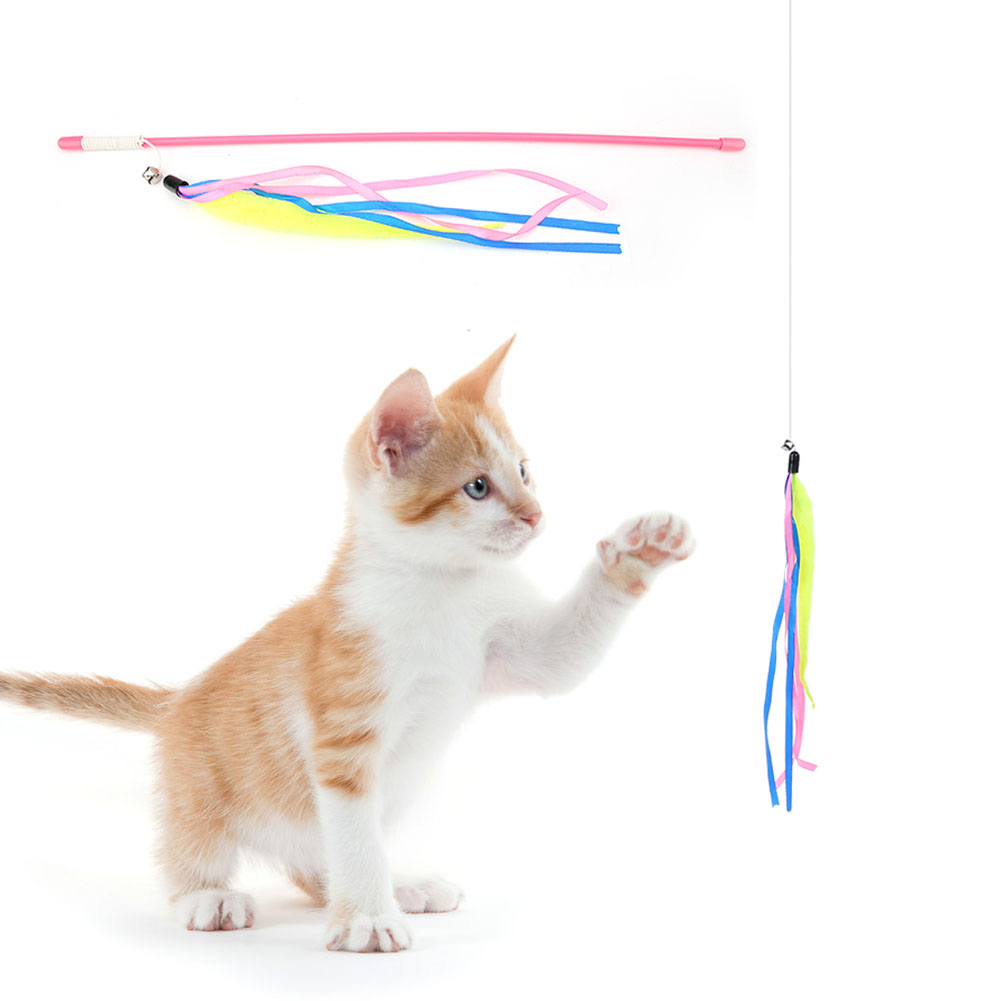 Multi-Funny-Pet-Cat-Kitten-Toy-Mouse-Teaser-Wand-Feather-Rod-Cat-Play-Toys-Lot miniature 44