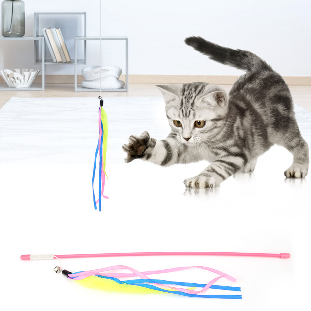 Multi-Funny-Pet-Cat-Kitten-Toy-Mouse-Teaser-Wand-Feather-Rod-Cat-Play-Toys-Lot miniature 45