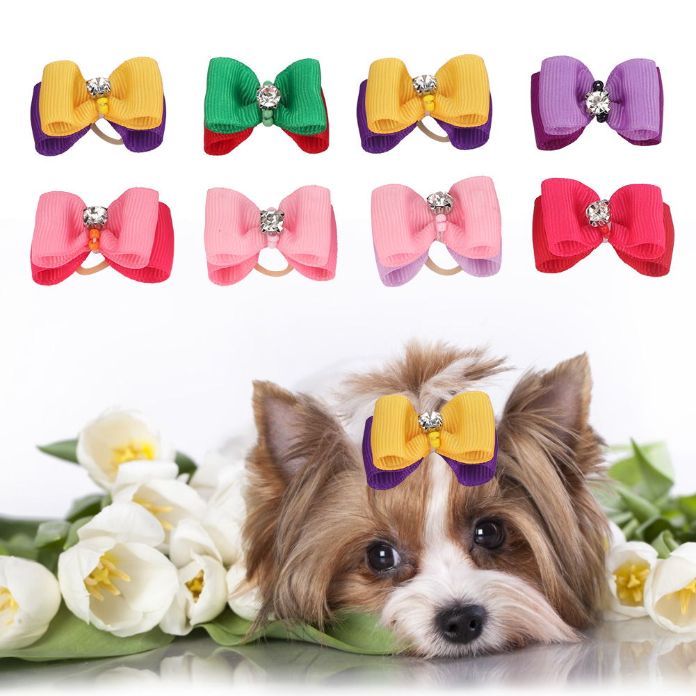 10-20-30Pcs-Pet-Dog-Hair-Bow-Rubber-Band-Small-Cat-Puppy-Bowknot-Grooming thumbnail 33