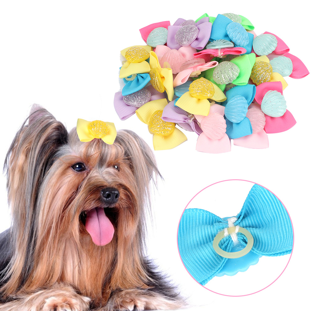 10-20-30Pcs-Pet-Dog-Hair-Bow-Rubber-Band-Small-Cat-Puppy-Bowknot-Grooming thumbnail 26