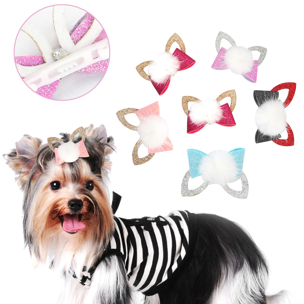 10-20-30Pcs-Pet-Dog-Hair-Bow-Rubber-Band-Small-Cat-Puppy-Bowknot-Grooming thumbnail 23