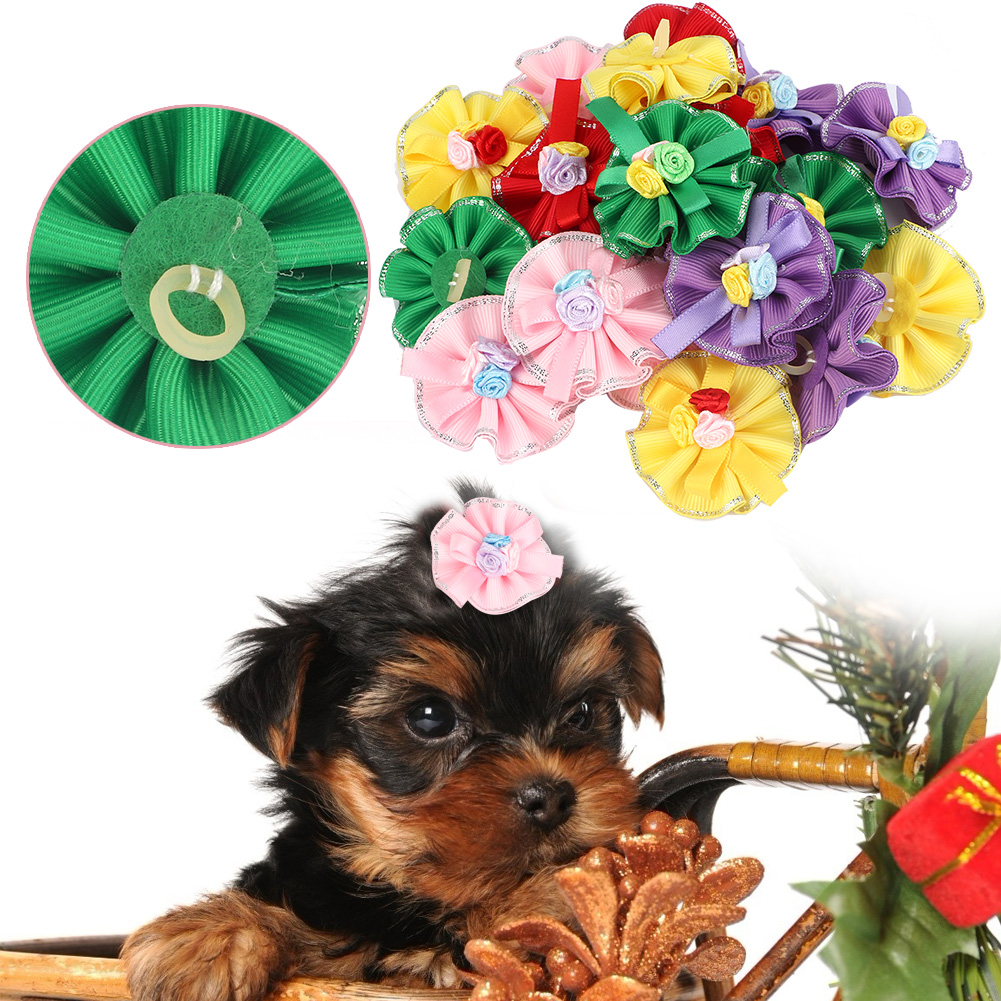10-20-30Pcs-Pet-Dog-Hair-Bow-Rubber-Band-Small-Cat-Puppy-Bowknot-Grooming thumbnail 20