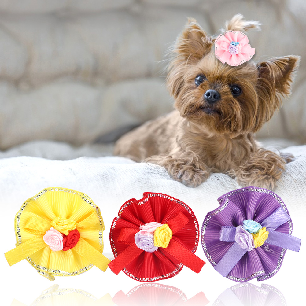 10-20-30Pcs-Pet-Dog-Hair-Bow-Rubber-Band-Small-Cat-Puppy-Bowknot-Grooming thumbnail 21