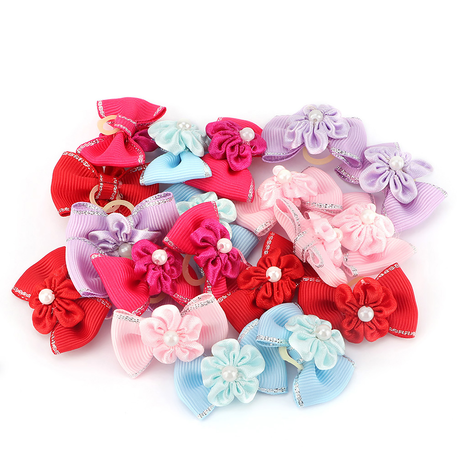 10-20-30Pcs-Pet-Dog-Hair-Bow-Rubber-Band-Small-Cat-Puppy-Bowknot-Grooming thumbnail 17