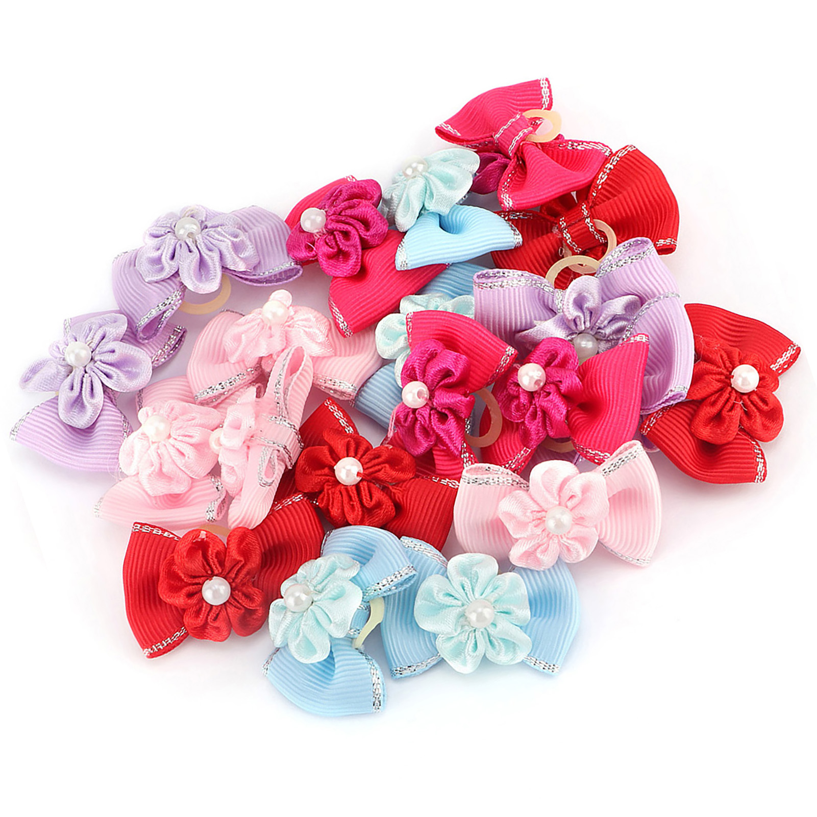 10-20-30Pcs-Pet-Dog-Hair-Bow-Rubber-Band-Small-Cat-Puppy-Bowknot-Grooming thumbnail 18