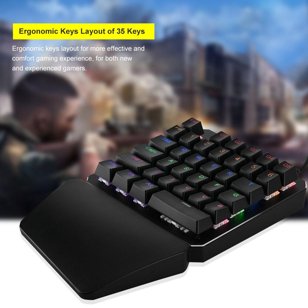 usb wired single hand mechanical gaming keyboard keypad backlit blue switch co ebay. Black Bedroom Furniture Sets. Home Design Ideas