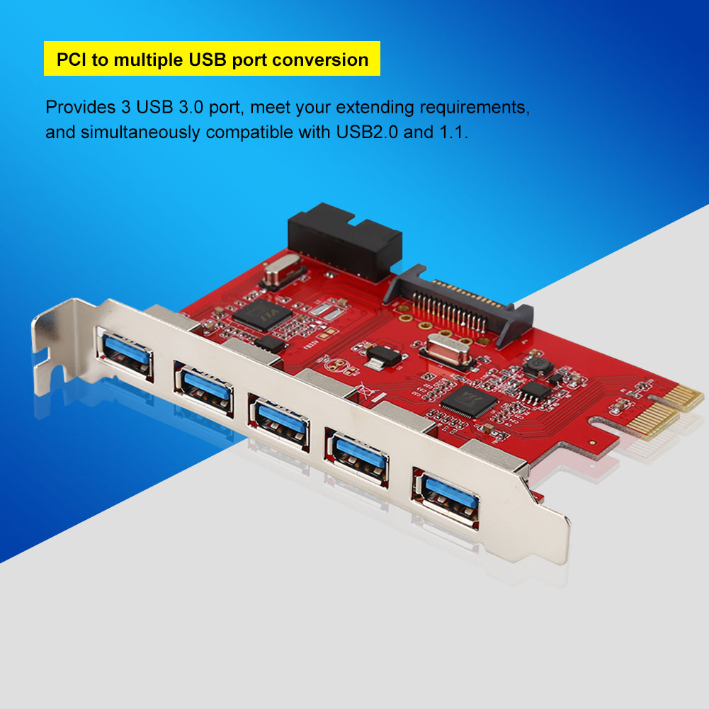 Fast 5 Port Pci E Express To Usb 30 20 Pin Connector Expansion Circuit Board