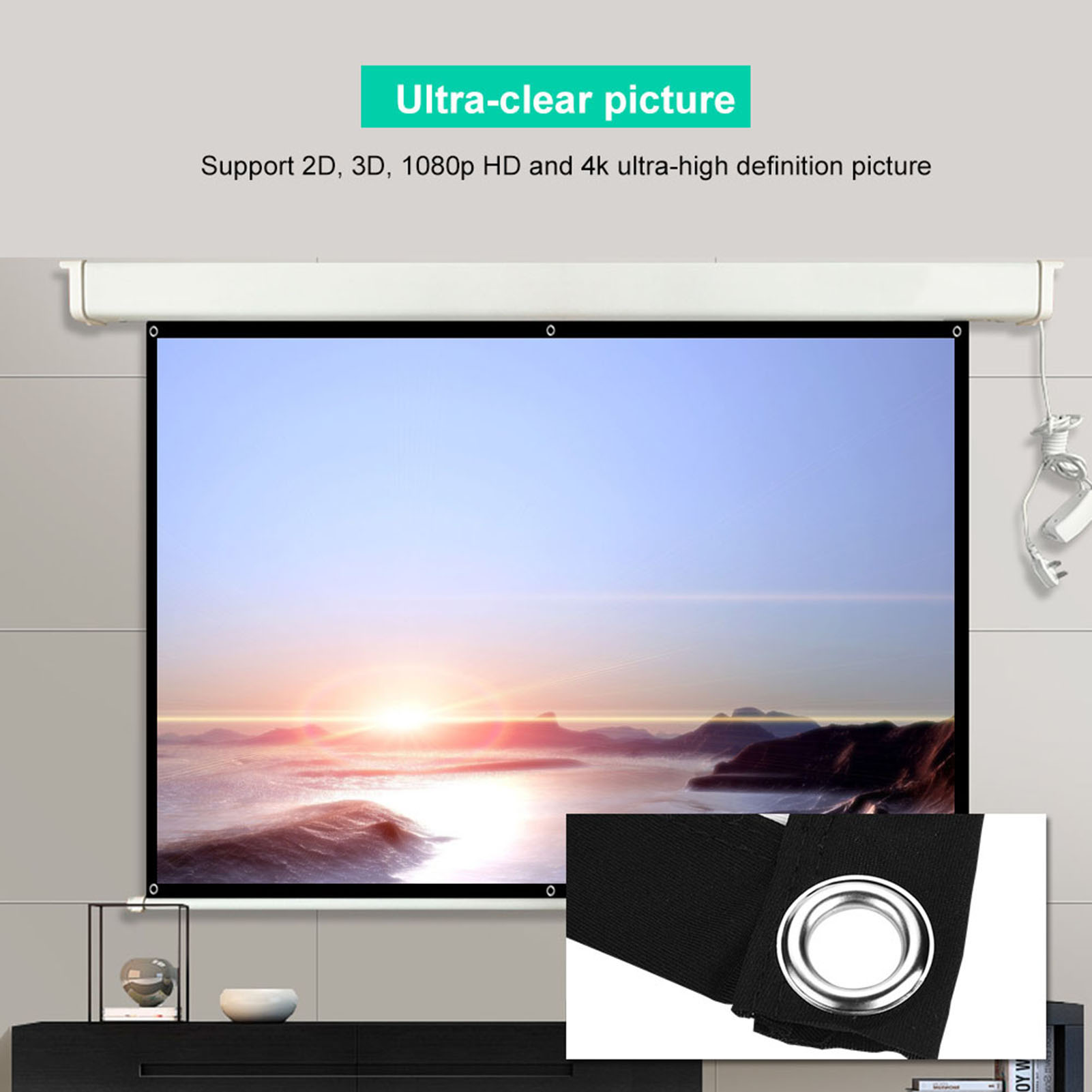 16:9 Movie Projector Screen 16:9 Projection HD Home Theater Portable Foldable