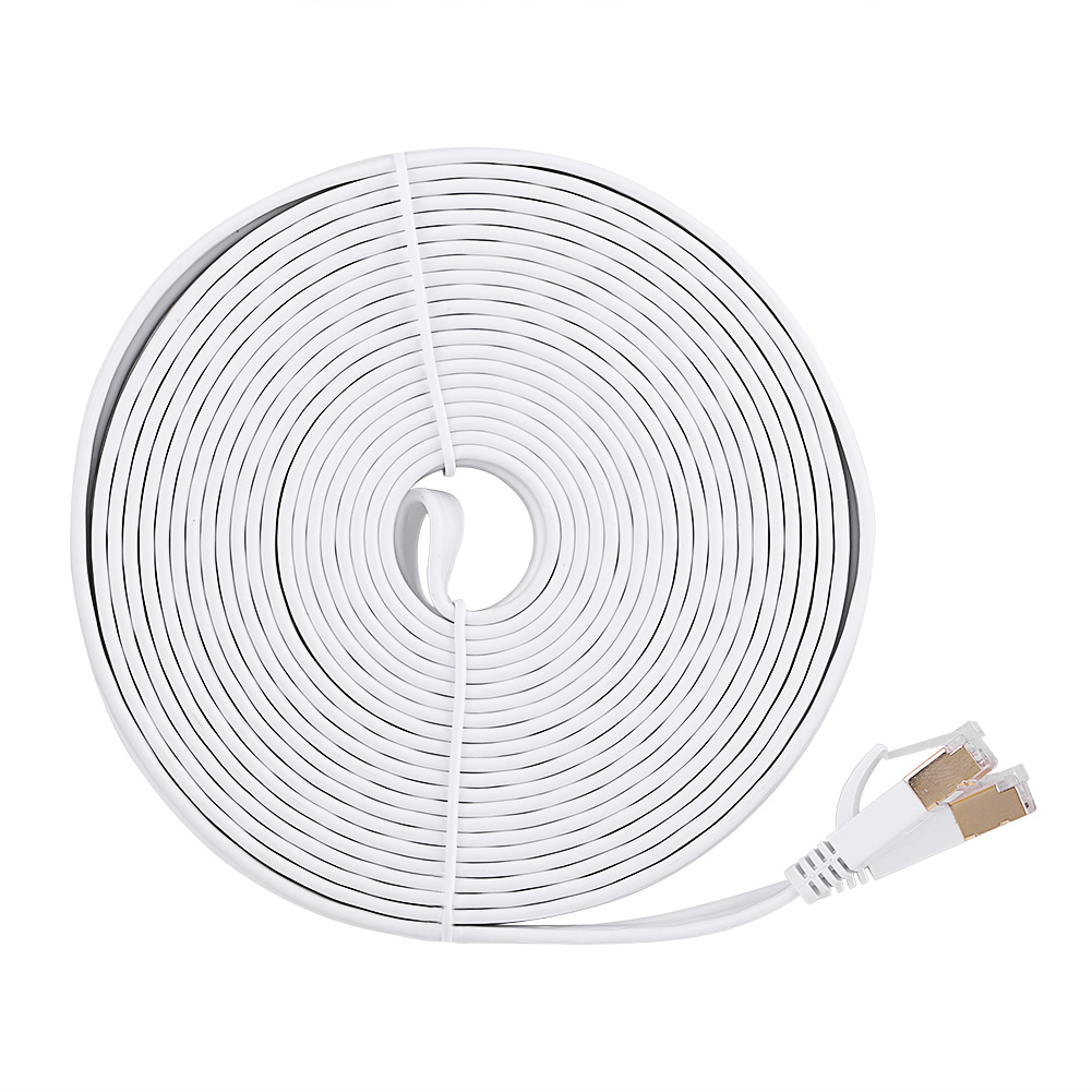 15m cat7 ethernet network lan rj45 cable flat cord patch for pc laptop router dh