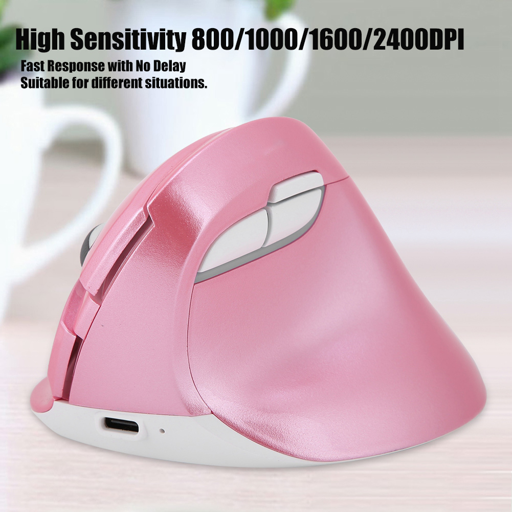 DELUX-2-4GHz-Rechargeable-Wired-Vertical-Mouse-Bluetooth-800-1000-1600-2400DPI thumbnail 4