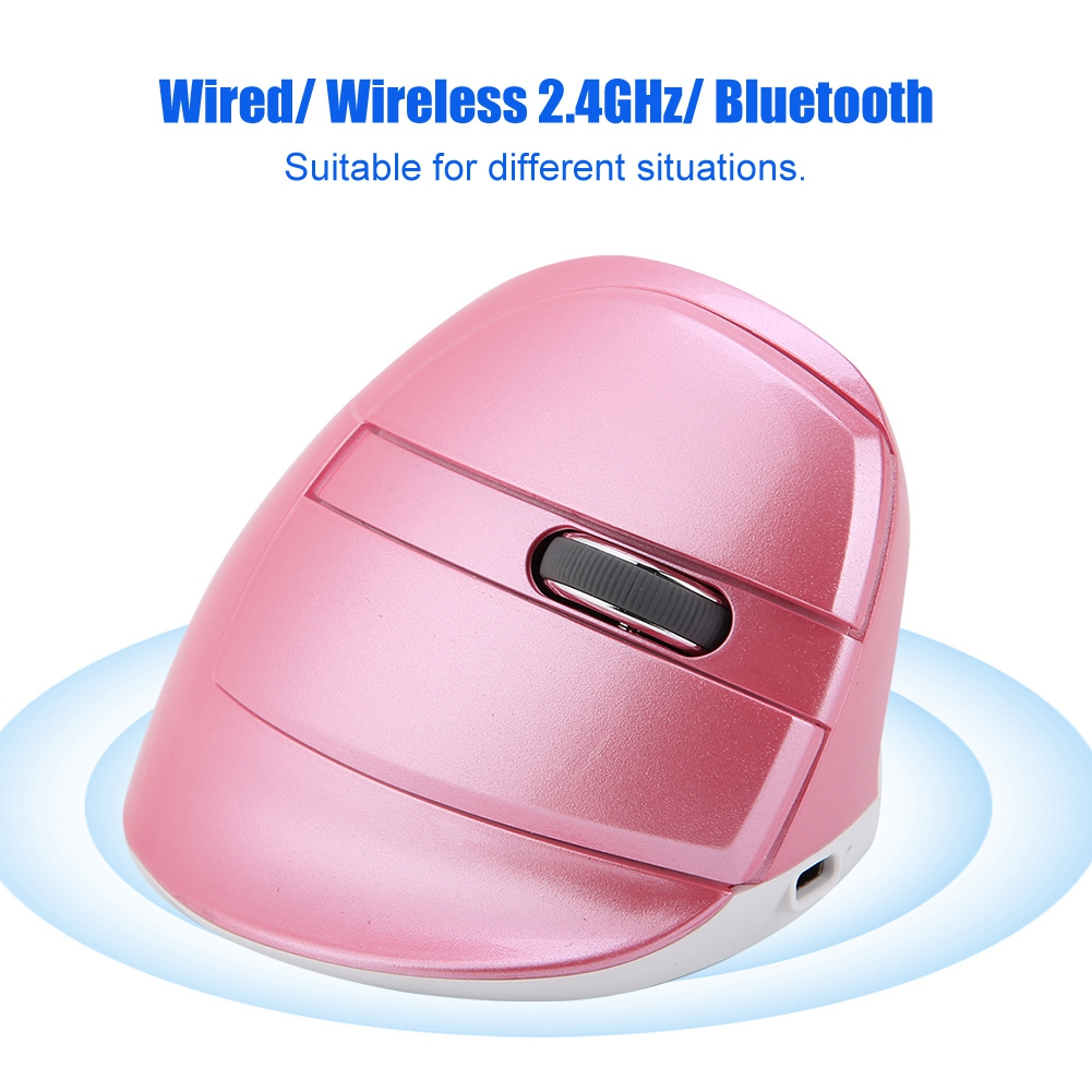 DELUX-2-4GHz-Rechargeable-Wired-Vertical-Mouse-Bluetooth-800-1000-1600-2400DPI thumbnail 3