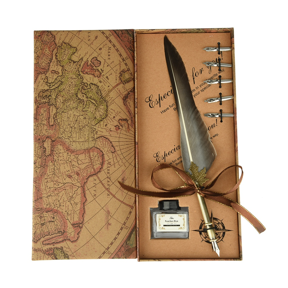 Feather-Writing-Fountain-Caligraphy-Dip-Pen-Quill-Ink-Bottle-5-Nibs-Gift-Box thumbnail 76