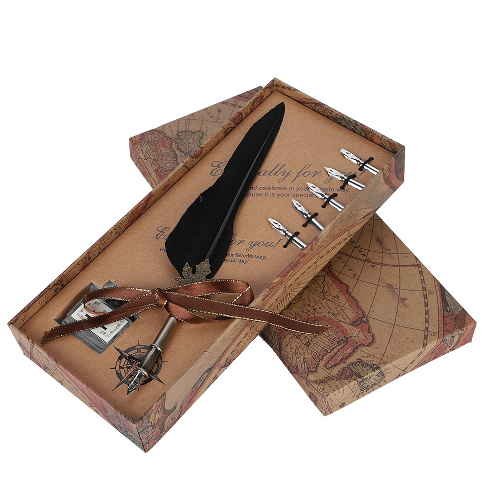 Feather-Writing-Fountain-Caligraphy-Dip-Pen-Quill-Ink-Bottle-5-Nibs-Gift-Box thumbnail 16