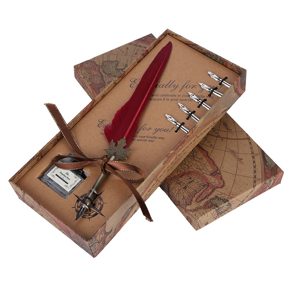Feather-Writing-Fountain-Caligraphy-Dip-Pen-Quill-Ink-Bottle-5-Nibs-Gift-Box thumbnail 22