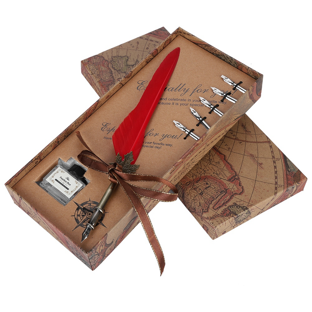 Feather-Writing-Fountain-Caligraphy-Dip-Pen-Quill-Ink-Bottle-5-Nibs-Gift-Box thumbnail 25