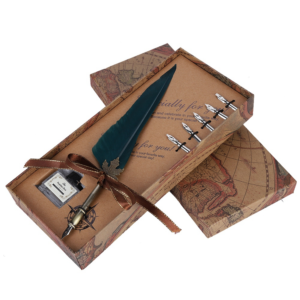 Feather-Writing-Fountain-Caligraphy-Dip-Pen-Quill-Ink-Bottle-5-Nibs-Gift-Box thumbnail 34