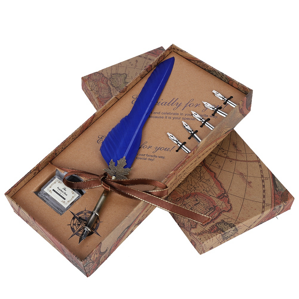 Feather-Writing-Fountain-Caligraphy-Dip-Pen-Quill-Ink-Bottle-5-Nibs-Gift-Box thumbnail 40