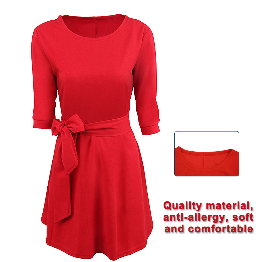 Womens-Ladies-Round-Neck-Simple-Cotton-Swing-Skater-Party-Evening-Midi-Dress-New