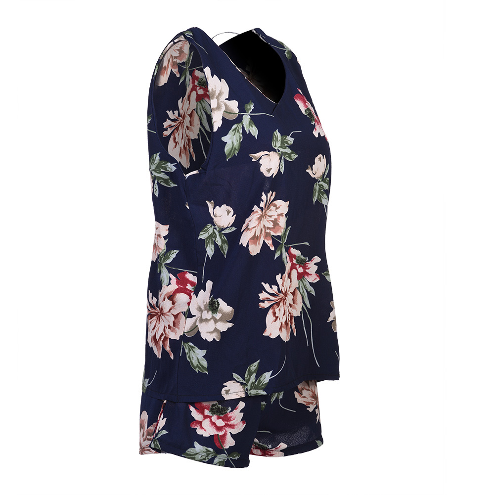 Women-2-pieces-Floral-Loose-Sleeveless-Vest-Crop-Top-Shorts-Set-Party-Holiday thumbnail 8
