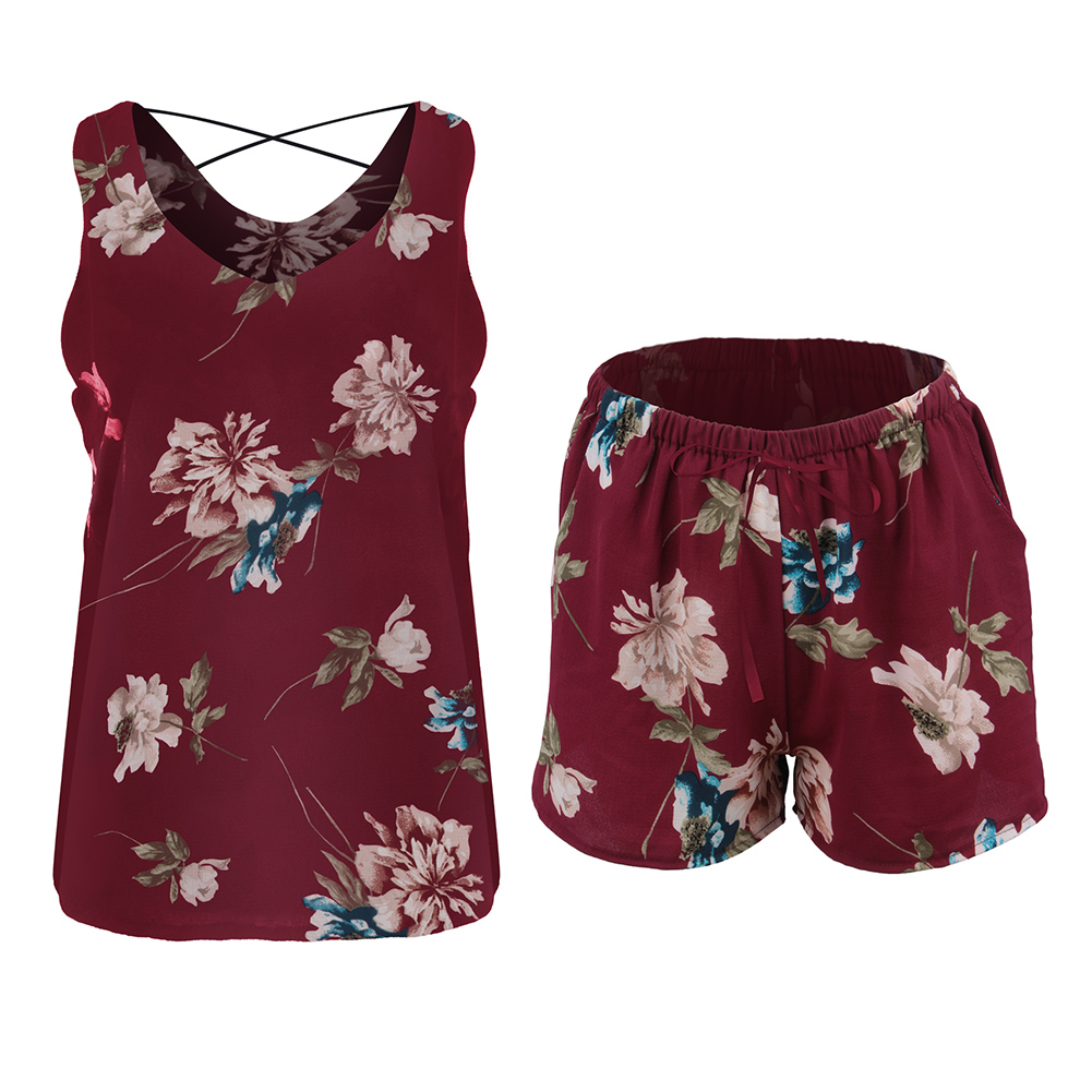Women-2-pieces-Floral-Loose-Sleeveless-Vest-Crop-Top-Shorts-Set-Party-Holiday thumbnail 13