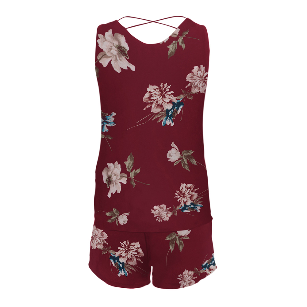 Women-2-pieces-Floral-Loose-Sleeveless-Vest-Crop-Top-Shorts-Set-Party-Holiday thumbnail 14