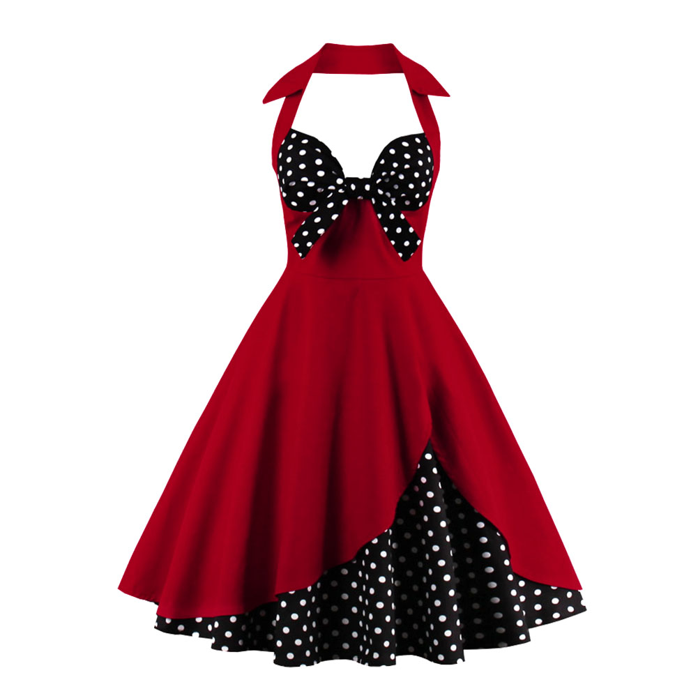Women-039-s-Backless-Evening-Party-Halter-Ball-Gown-Red-Dot-Swing-Dress-Vintage-4XL