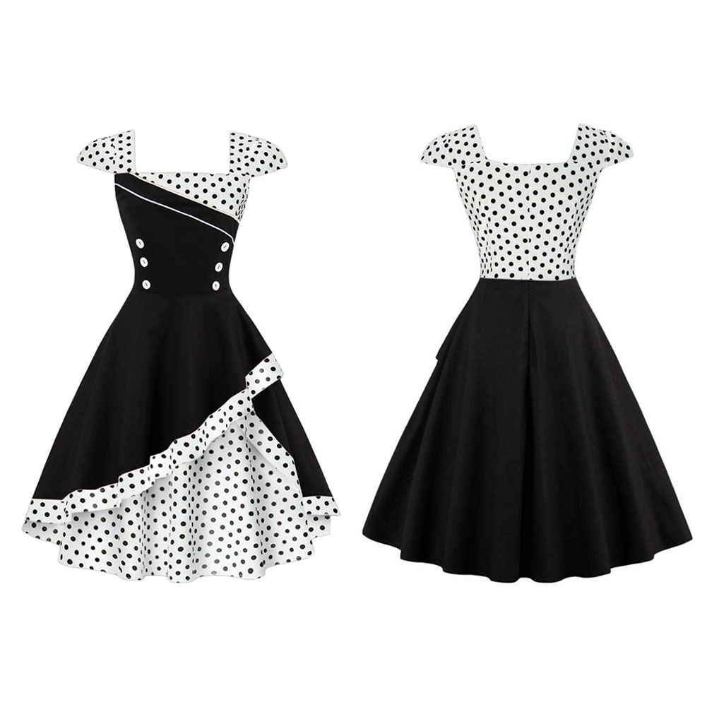 7a590d097715 Women Vintage 1950s Polka Dot Rockabilly Evening Prom Swing Ball ...