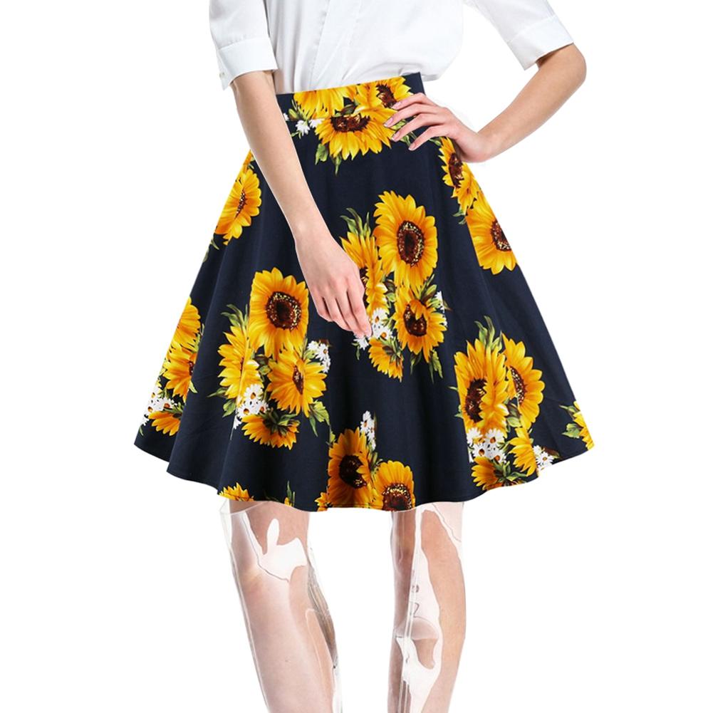 Womens High Waist Skirt 3D Print Skater Pleated Flared Midi A-line Swing Skirts