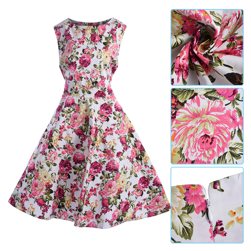 Plus-Size-Womens-Vintage-Floral-Dot-50s-60s-Rockabilly-Evening-Swing-Prom-Dress