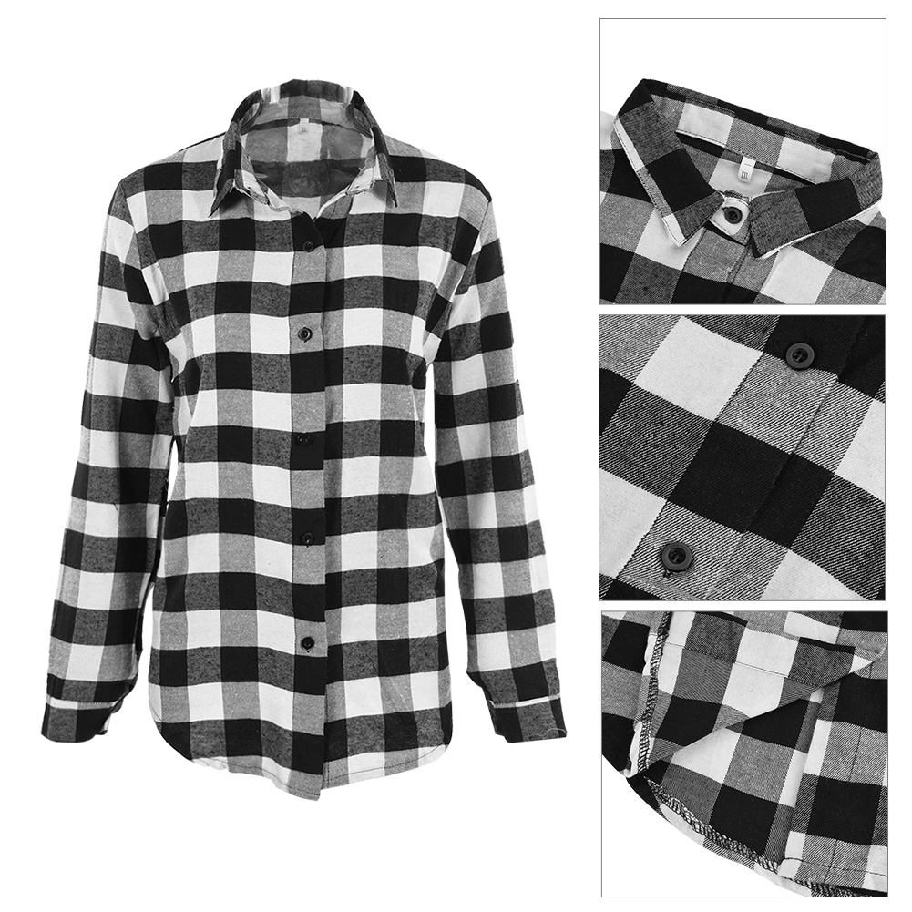 Womens Girls Students Plaid Checked Tee T-Shirt Ladies Cotton Shirts Tops Blouse