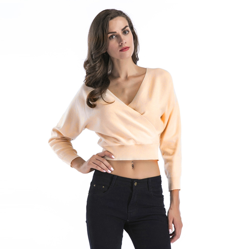 2237a5227df7a2 Womens Cotton V Neck Knitted Long Sleeve Crop Tops Sweater Ladies ...