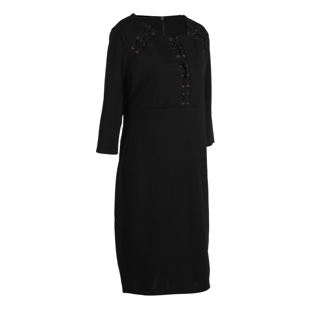 Newly-Women-Lady-Bodycon-Three-Quarter-Sleeve-Casual-Cocktail-Black-Fitted-Dress