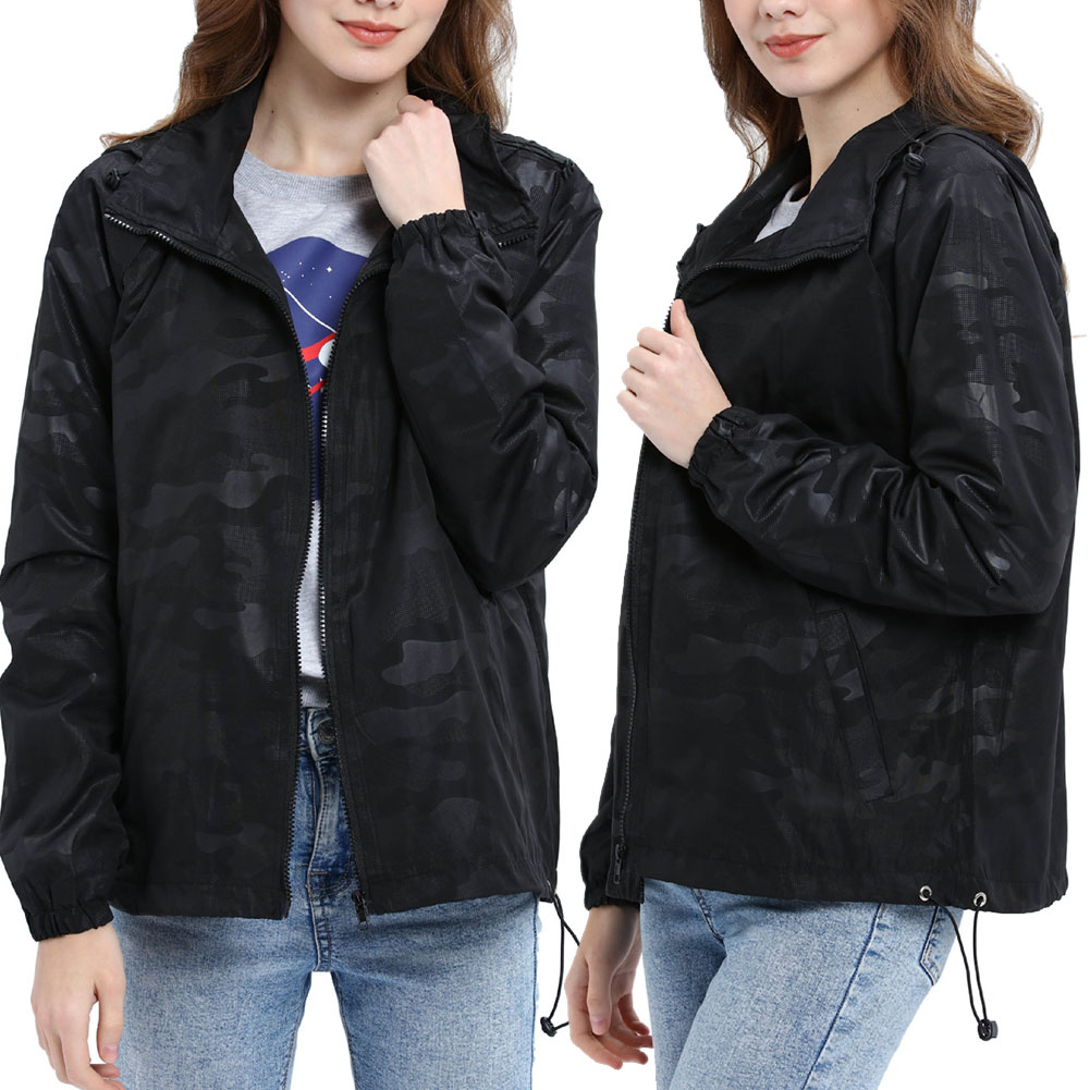 Women-Waterproof-Outdoor-Hiking-Trekking-Jacket-Hooded-Windbreaker-Top-Pockets thumbnail 10