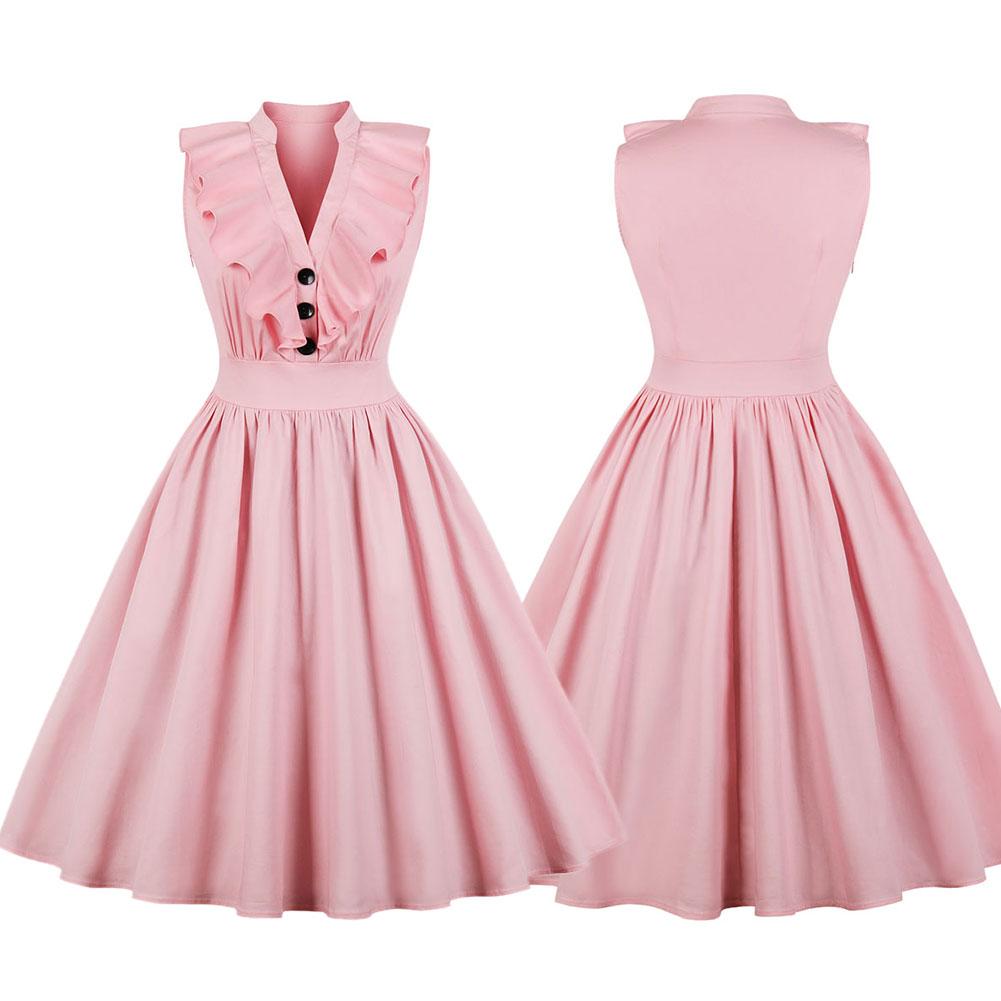 New-Woman-Lady-Vintage-Ruffle-Dress-Sleeveless-V-Neck-A-Line-Dress-S-2XL thumbnail 10