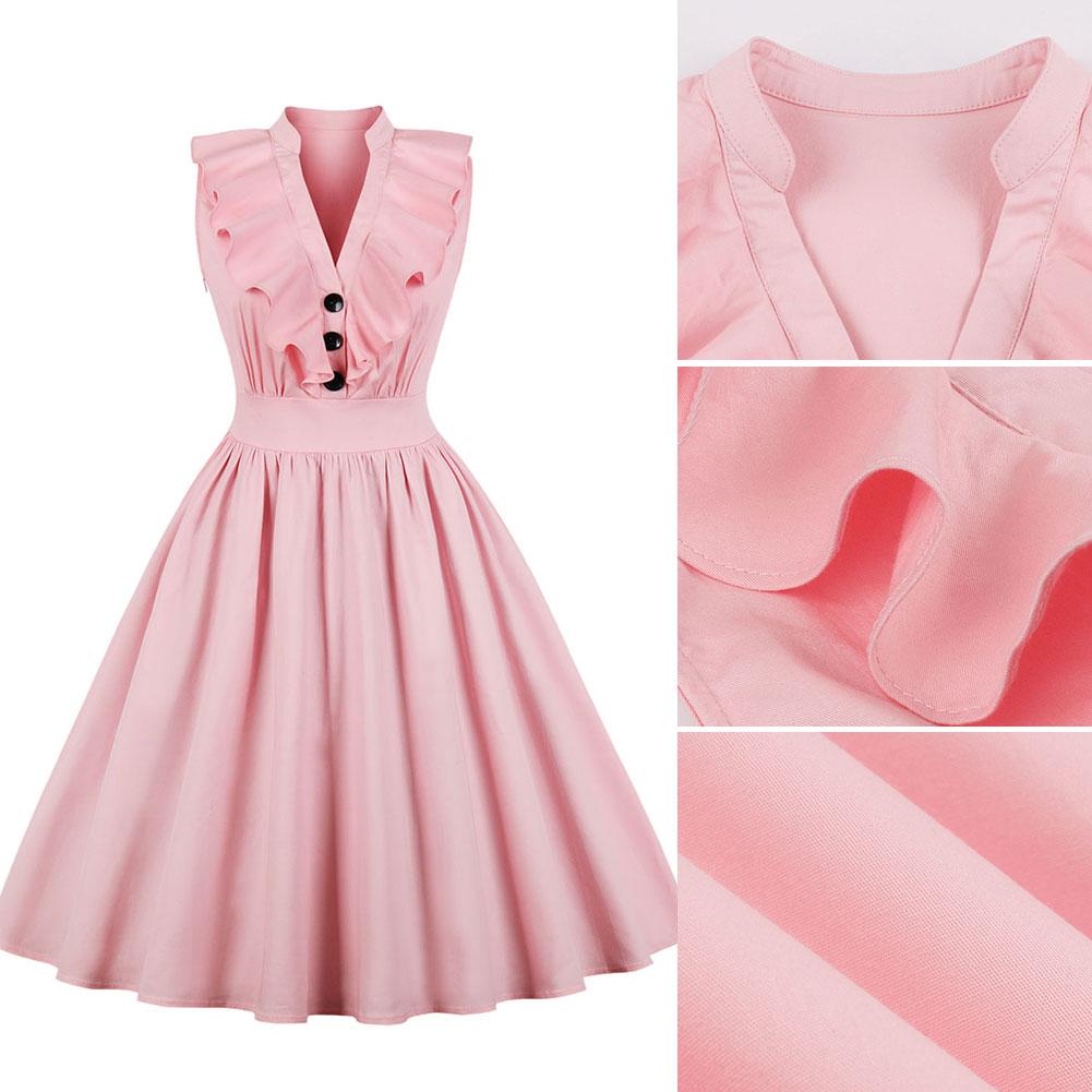 New-Woman-Lady-Vintage-Ruffle-Dress-Sleeveless-V-Neck-A-Line-Dress-S-2XL thumbnail 11