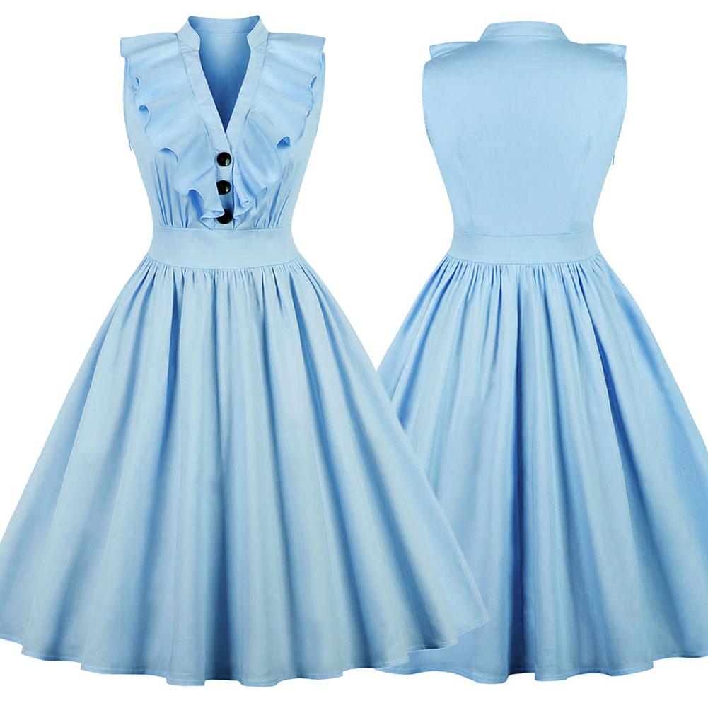 New-Woman-Lady-Vintage-Ruffle-Dress-Sleeveless-V-Neck-A-Line-Dress-S-2XL thumbnail 13